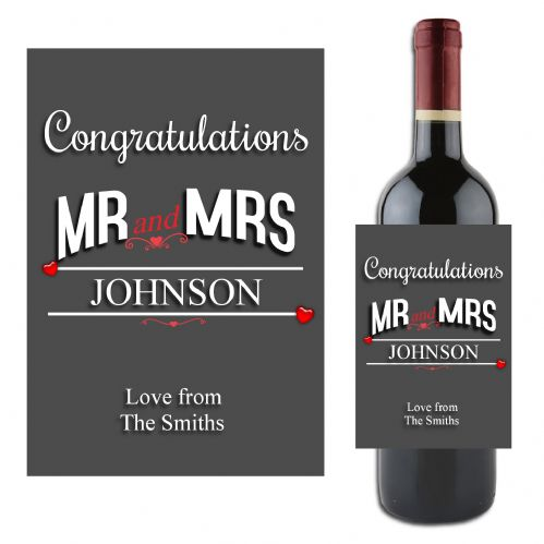 Personalised Congratulations Mr & Mrs Gift Wine / Champagne Bottle Label N164